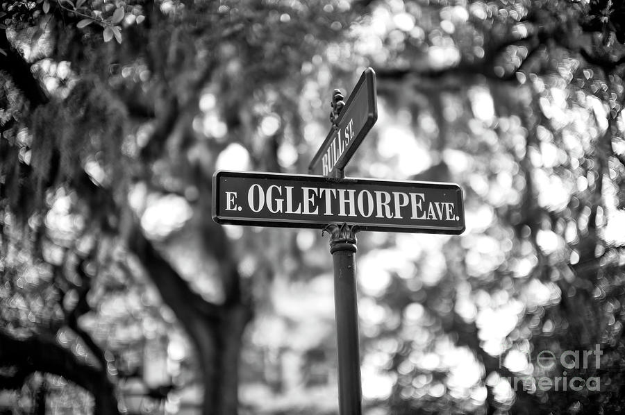 Street Sign Photograph - Oglethorpe Avenue In Savannah by John Rizzuto