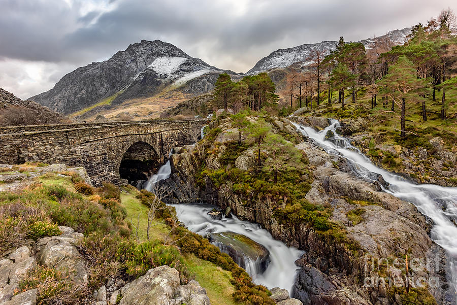 Waterfall Photograph - Ogwen Bridge Winter by Adrian Evans