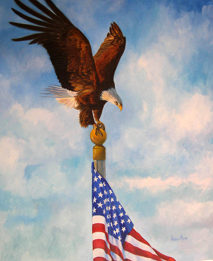 Eagle Painting - Oh Beautiful by Valerie Aune
