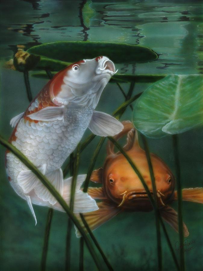 Koi Fish Painting - Oh Boy More Koi by Wayne Pruse