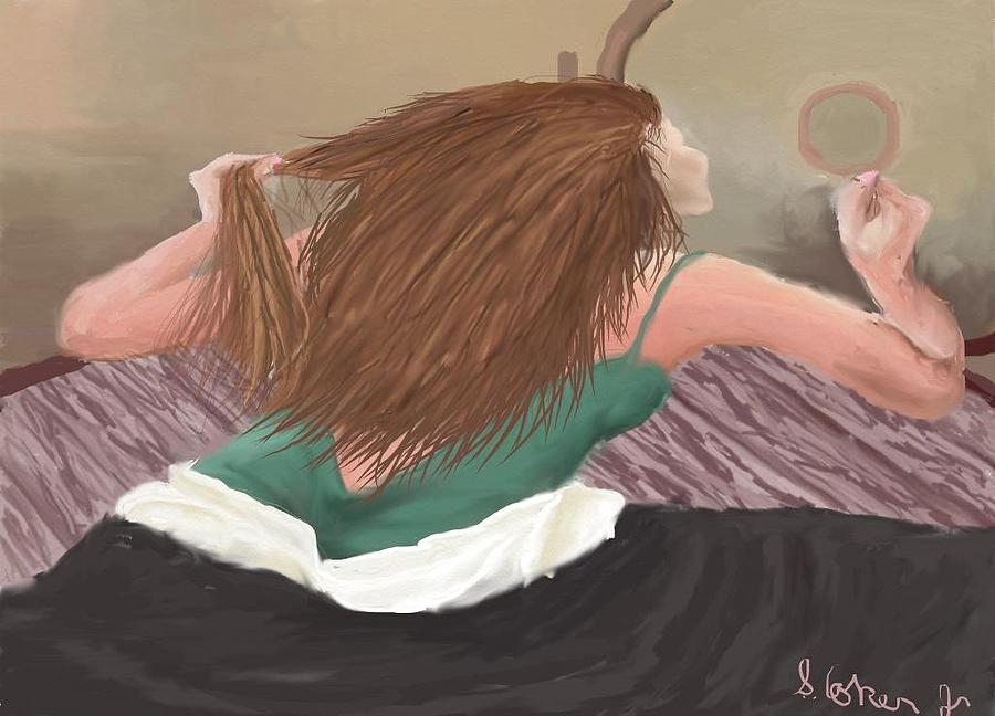 Girl Painting - Oh  Myhair by Shelton Coker Jr