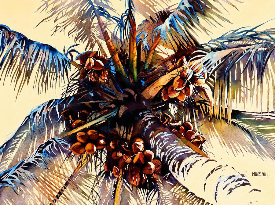 Sun Coconuts Palm Tree Breeze Wind Yellow Light Tropical Warm Hawaii Maui Hawaiian Painting - Oh Nuts by Mike Hill