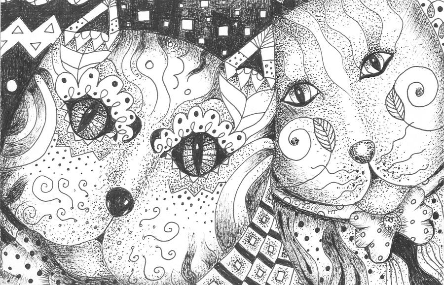 Kitty Drawing - Oh Purr... by Helena Tiainen