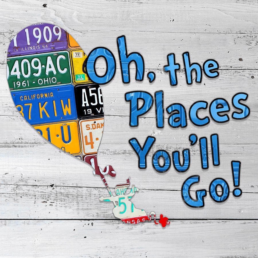 oh the places youll go dr seuss inspired recycled vintage license
