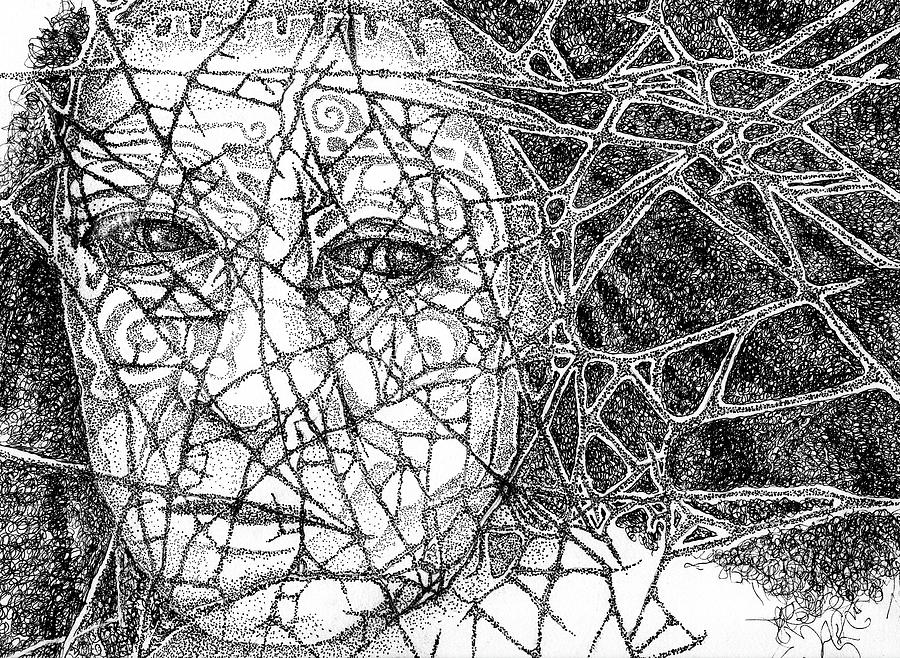 Pen And Ink Stipple Drawing - Oh What A Tangled Web We Weave When First We Practice To Deceive by Cora Marshall