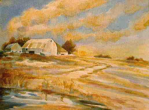 Landscape Painting - Ohio Barn by Carol Kable
