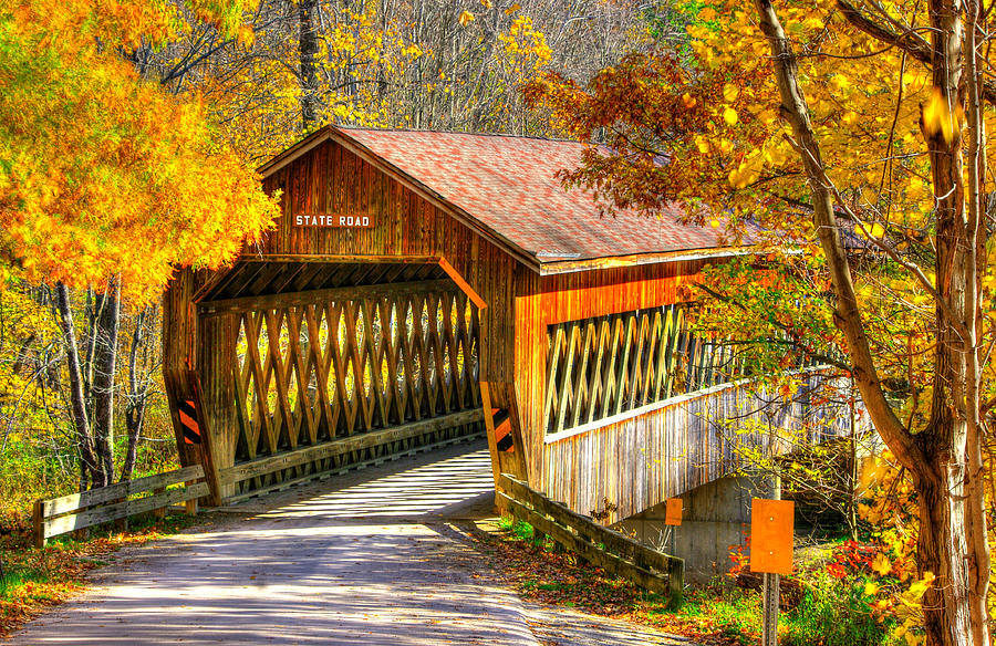 Ohio Country Roads State Road Covered Bridge Over