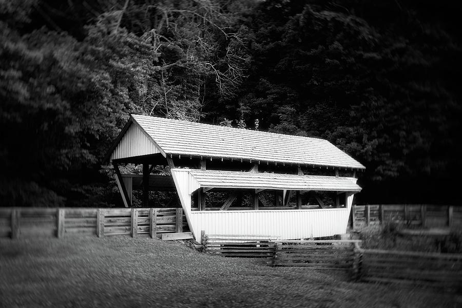 Architecture Photograph - Ohio Covered Bridge In Black And White by Tom Mc Nemar