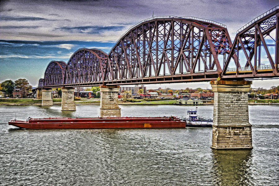 Usa Photograph - Ohio River Bridge by Dennis Cox