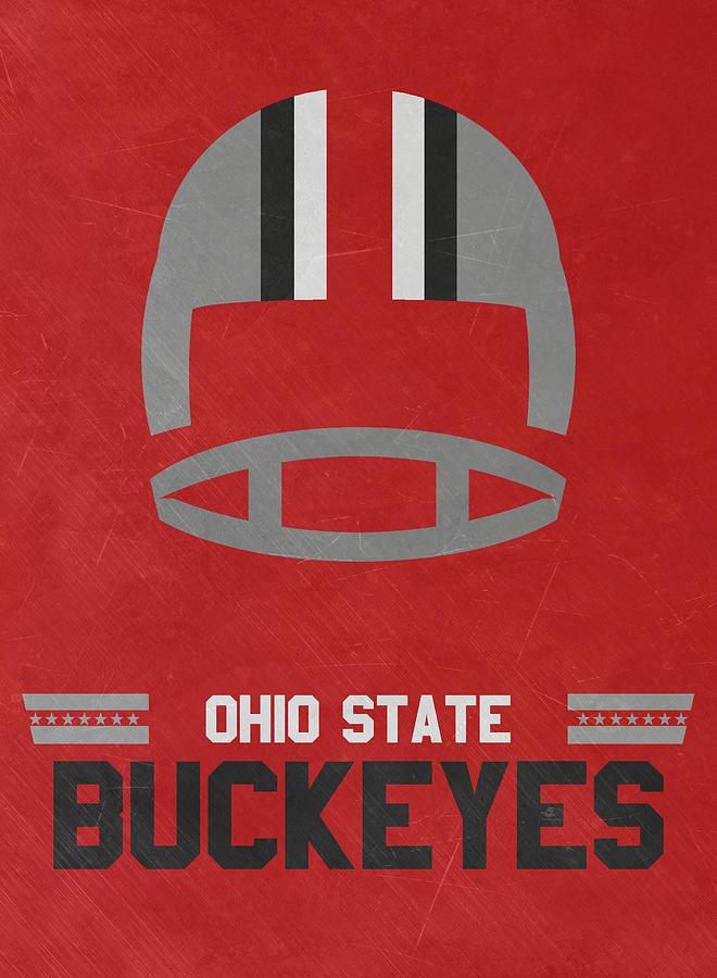 Ohio State Buckeyes Vintage Football Art Mixed Media By