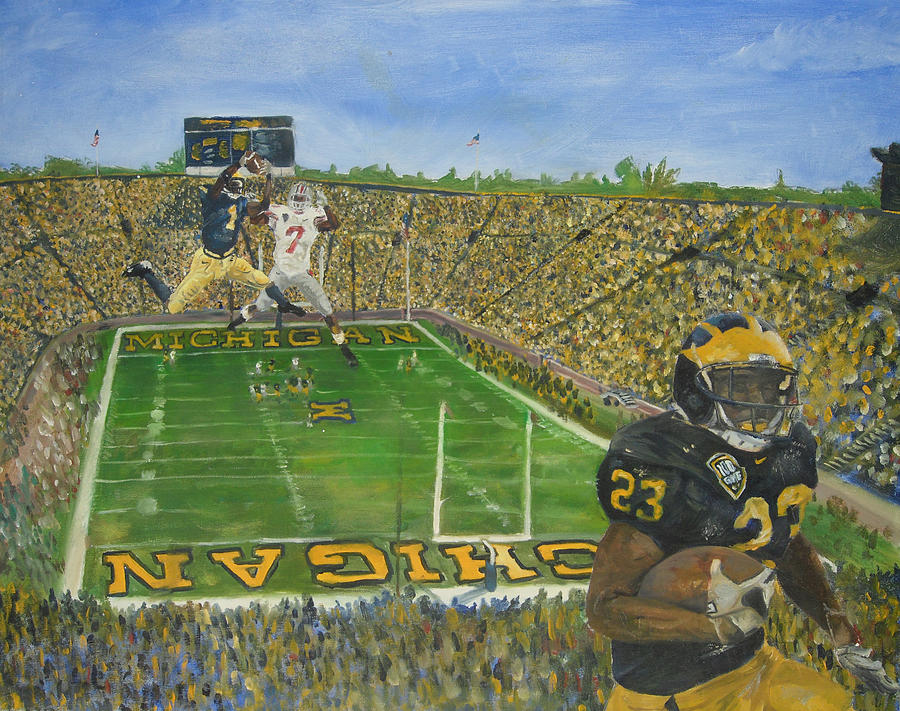 Michigan Painting - Ohio State Vs. Michigan 100th Game by Travis Day