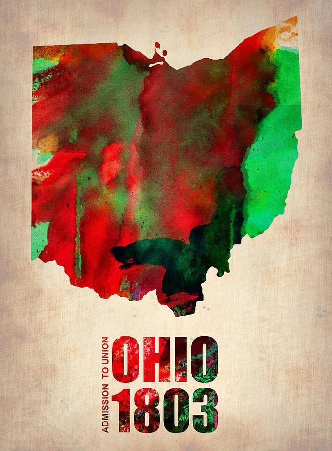 Ohio Painting - Ohio Watercolor Map by Naxart Studio