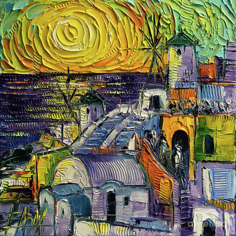 Magic Painting - Oia Impression Textural Impressionist Stylized Cityscape by Mona Edulesco