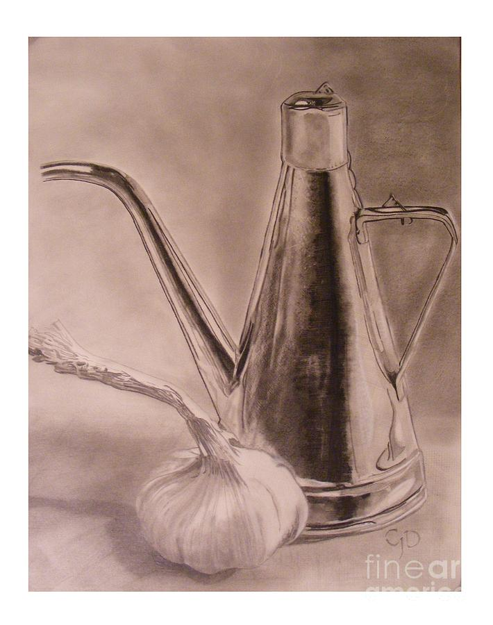 Graphite Drawing - Oil Container And Garlic by Crispin  Delgado