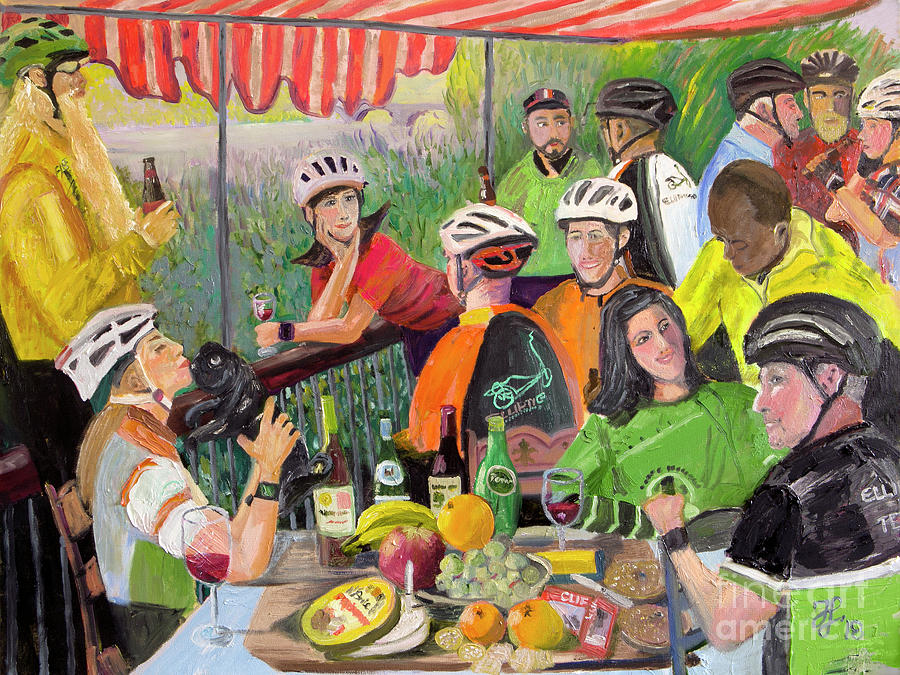 Oil- Luncheon of the Cycling Party by Francois Lamothe