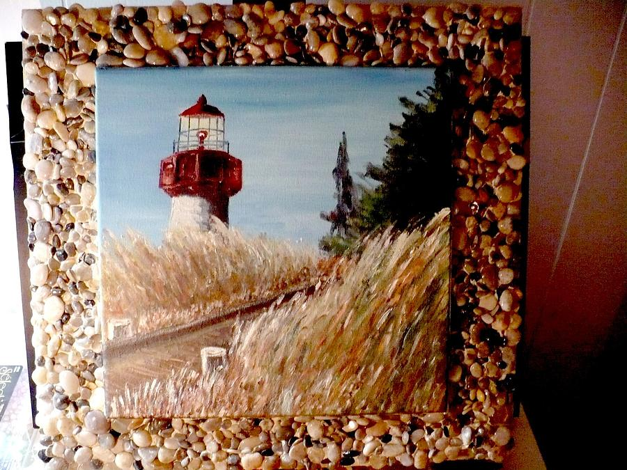 Oil Painting - Oil On Canvas Cape May Lighthouse With Polished Gemstone Frame by Jimm Ross