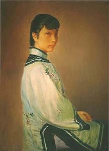 A Woman Painting - Oil Painting by Xiaojian Yang