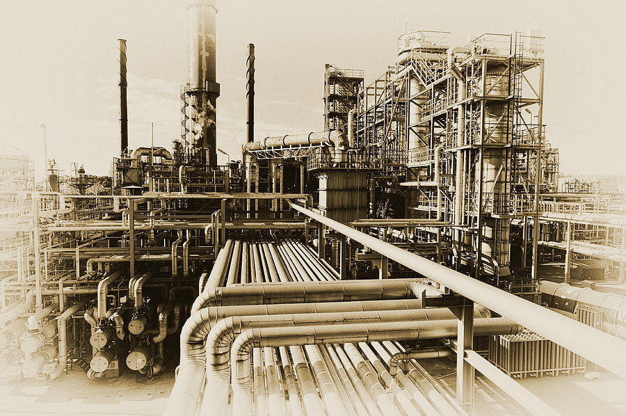 Oil Refinery In Old Vintage Processing Concept Photograph
