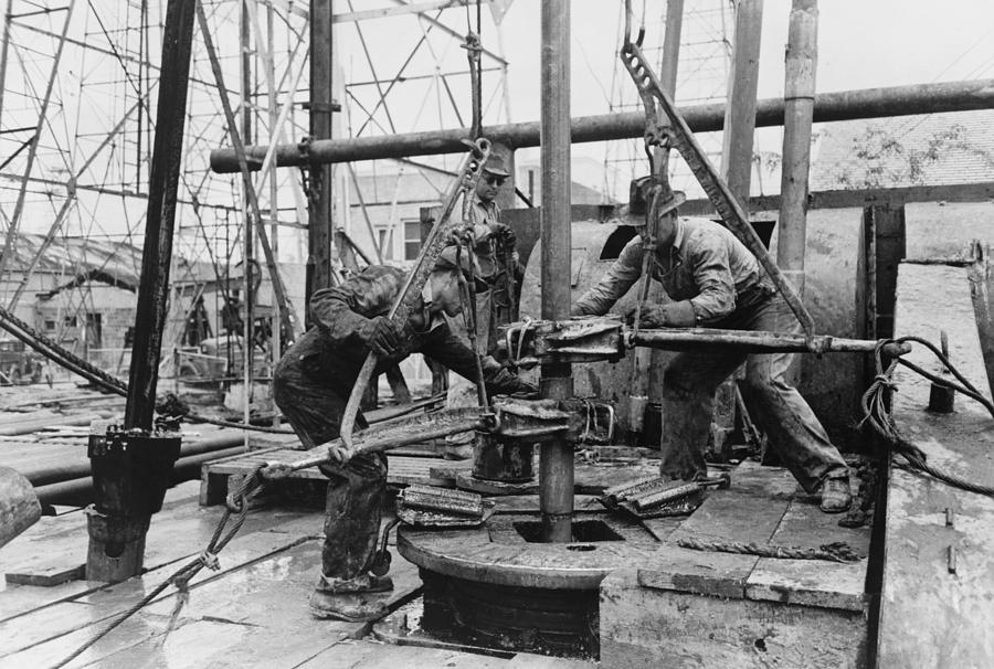 History Photograph - Oil Rig Workers, Called Roughnecks by Everett