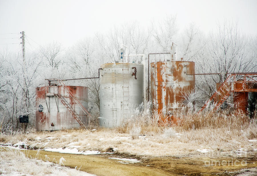 Kansas Photograph - Oil Tank Farm by Fred Lassmann
