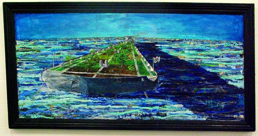 Oil Painting - Oil Tanker Island by Samuel Miller
