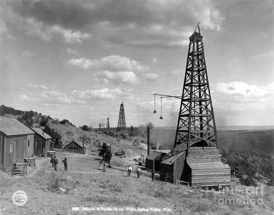 1910 Photograph - Oil Well, Wyoming, C1910 by Granger