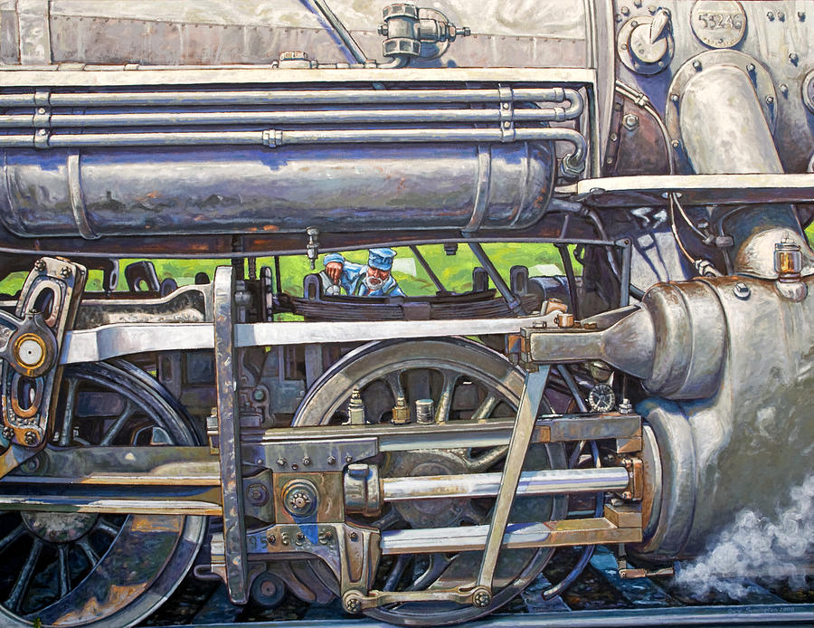 Train Painting - Oiling The 28 by Gary Symington