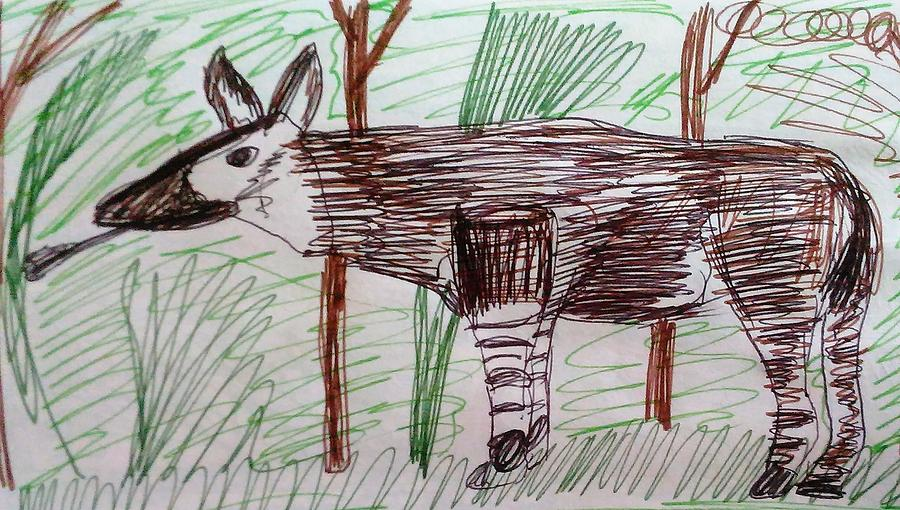 Okapi Drawing - Okapi by Andrew Blitman