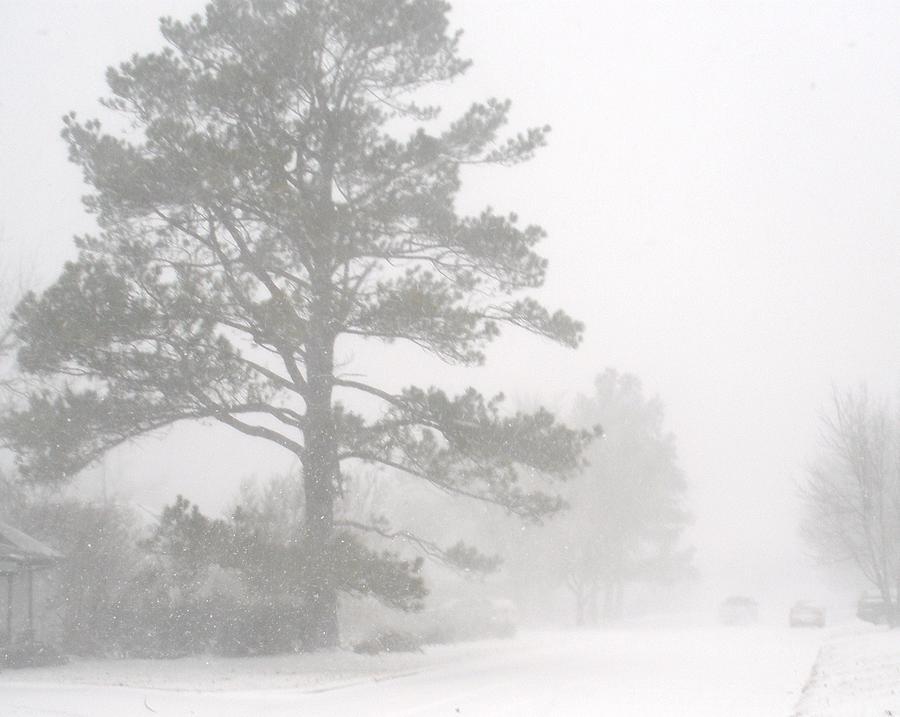 Snow Storm Photograph - Oklahoma Christmas Eve by Mikki Simon
