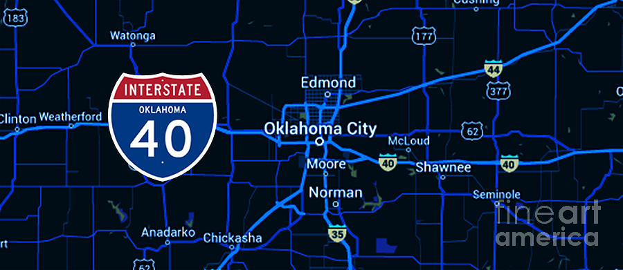 Oklahoma city blue old map interstate 40 painting by drawspots oklahoma painting oklahoma city blue old map interstate 40 by drawspots illustrations gumiabroncs Images