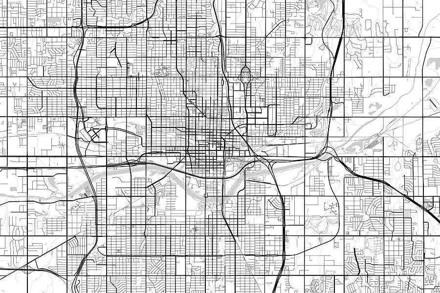 Oklahoma City Oklahoma Usa Light Map Digital Art By Jurq Studio