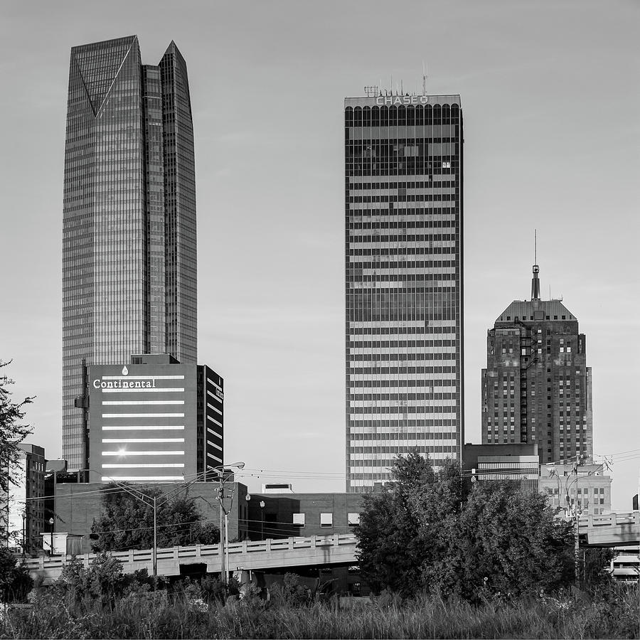 America photograph oklahoma city skyline square black and white by gregory ballos