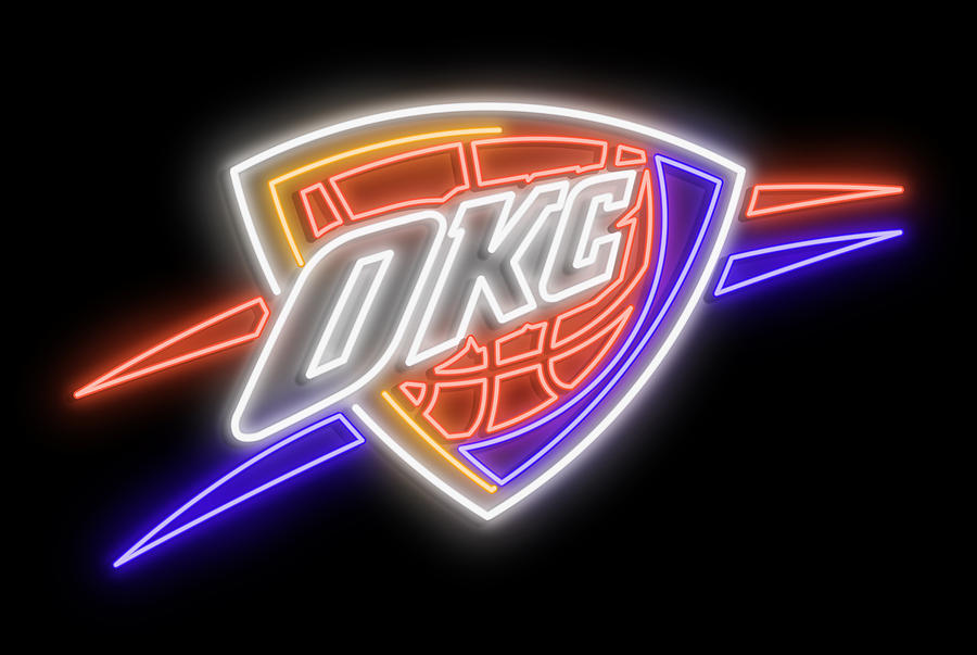 Oklahoma City Digital Art - Oklahoma City Thunder Neon Sign by Ricky Barnard