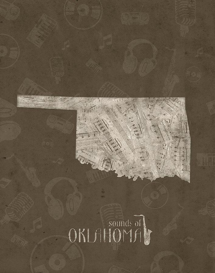 Oklahoma Digital Art - Oklahoma Map Music Notes 3 by Bekim M