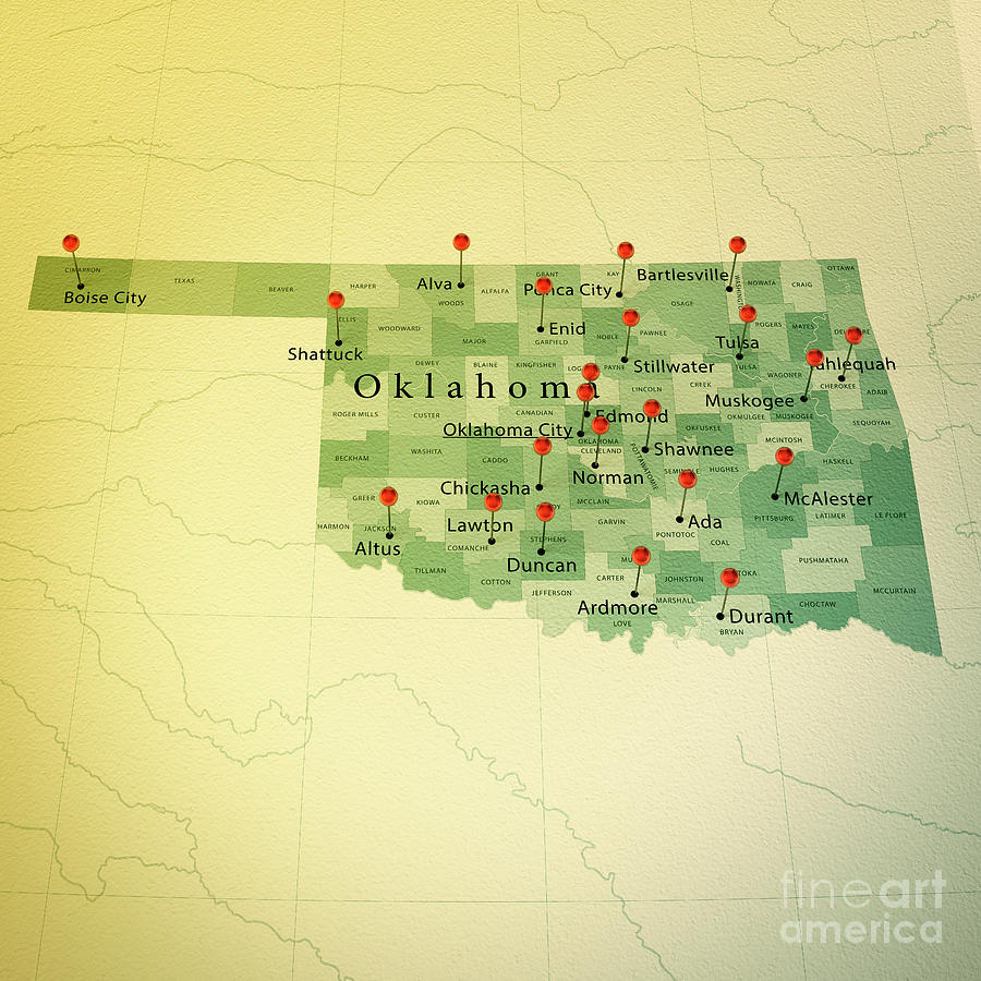 Oklahoma Map Square Cities Straight Pin Vintage Digital Art By Frank