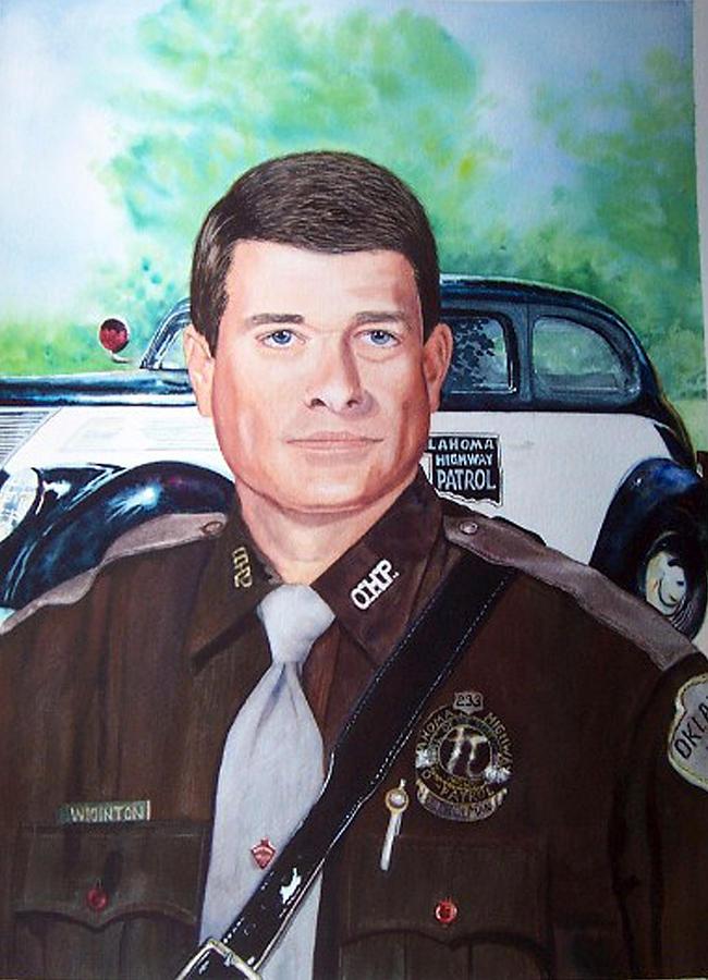 Portrait Painting - Oklahoma State Trouper by Jayne Bradley