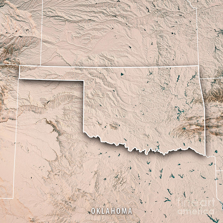 Oklahoma State Usa 3d Render Topographic Map Neutral Border ...