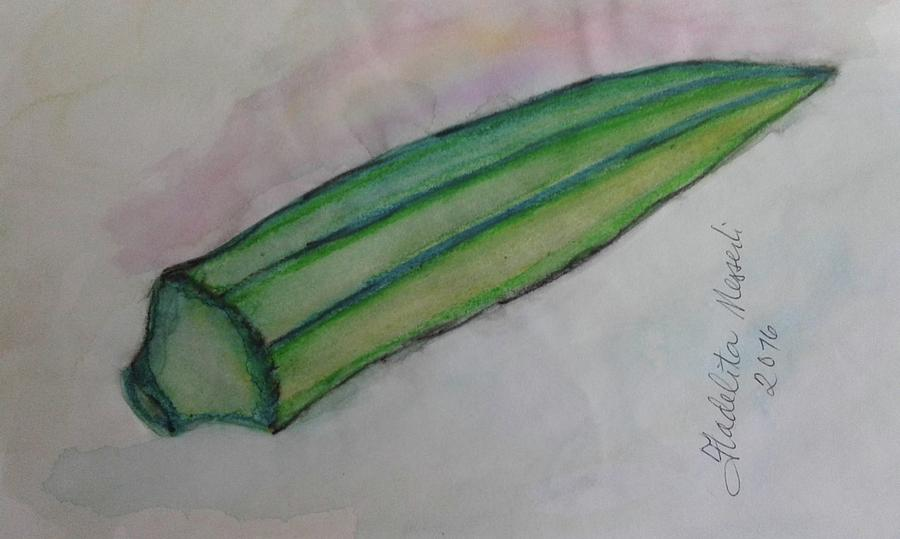 Plant Painting - Okra by Fladelita Messerli-