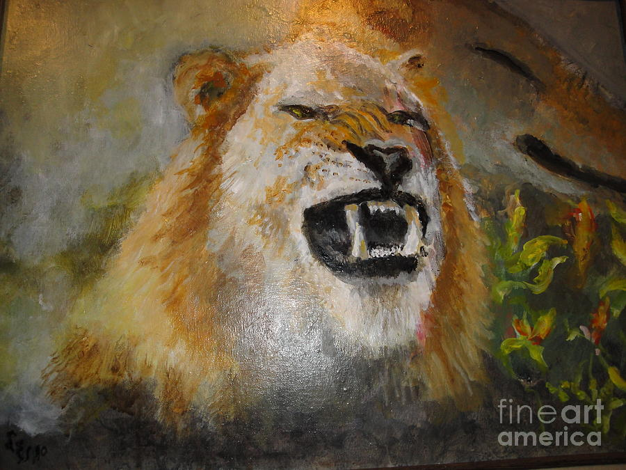 Lion Painting - Ol Snarlee by Les Smith