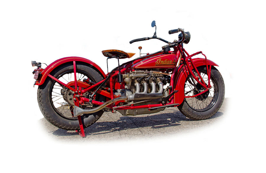 Indian Motorcycle Photograph - Old 1930s Indian Motorcycle by Mamie Thornbrue