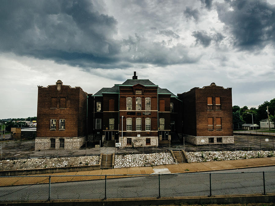 Abandoned Photograph - Old Abandoned School And Stormy Skies by Dylan Murphy