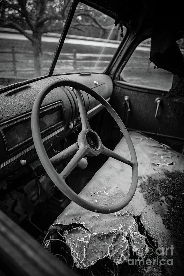 Wheel Photograph - Old Abandoned Truck Interior by Edward Fielding