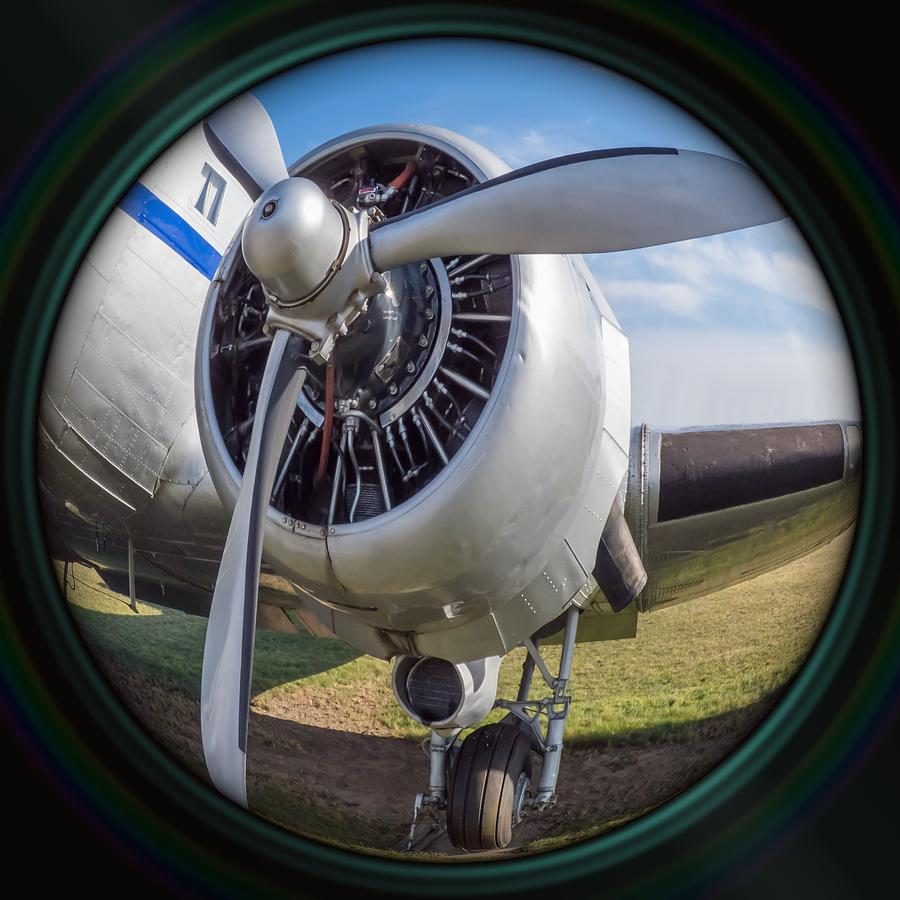 Old Airplane Engine In Camera Lens Photograph