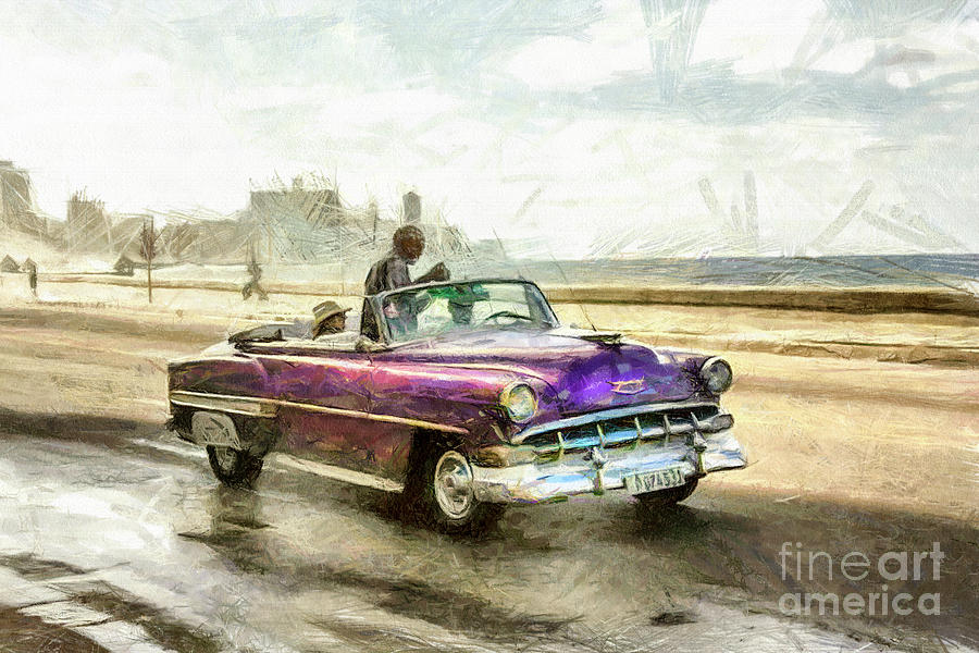 Old American Chevrolet 1950s Cars Drawing by Daliana Pacuraru