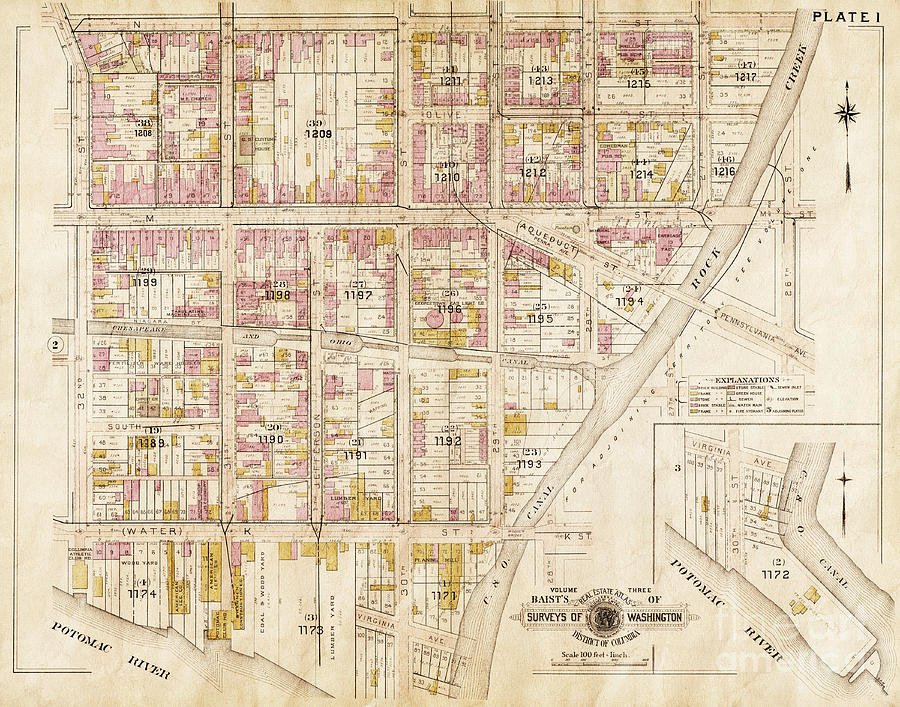 Old Antique City Map Georgetown Washington Dc Photograph by ... on