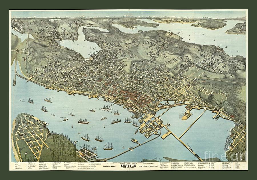 Old Antique Map Of Seattle Washington Photograph By Pd