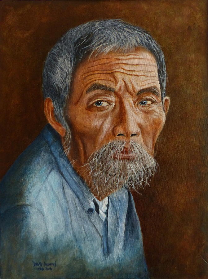 Asian Painting - Old Asian Worker by David Hawkes