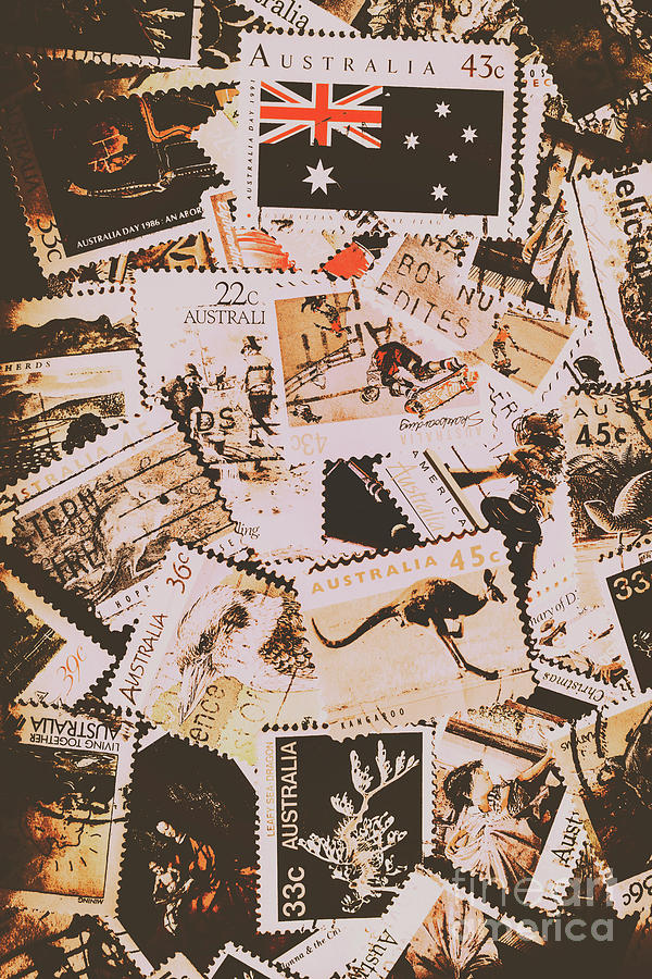 Australia Photograph - Old Australia In Stamps by Jorgo Photography - Wall Art Gallery