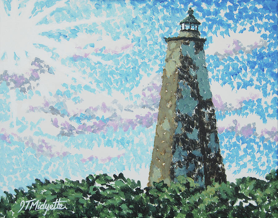Old Baldy Painting - Old Baldy Lighthouse by Tommy Midyette