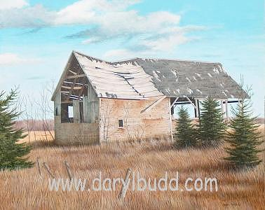 Old Barn Painting - Old Barn - Fisher Hill by Daryl Budd